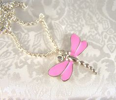 Girl's Pink Dragonfly and Crystal Necklace by dammas on Etsy, $15.00