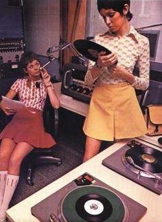 Seventies girls- mini skirts with knee socks.