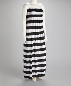 Take a look at this Black & White Stripe Strapless Plus-Size Maxi Dress by Sassy Wahine on #zulily today!