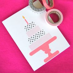 Make a birthday card for an elderly neighbor. Simple washi tape designs by Omiyage Blogs. #washitape #birthday #card