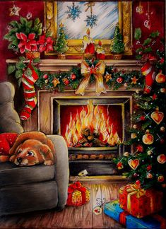 Christmas Scenes, Christmas Colors, Christmas Art, Xmas, Country Christmas, Christmas Drawing, Christmas Paintings, Art Drawings Sketches Simple, Cool Drawings