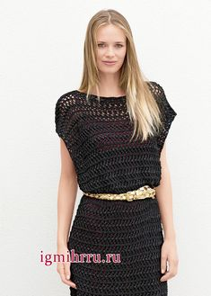 Черное ажурное платье в форме прямоугольника. Вязание спицами