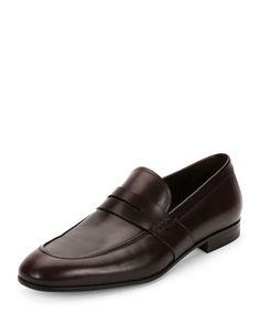 SALVATORE FERRAGAMO Guaido Leather Penny Loafer W/ Rubber Sole, Wine. #salvatoreferragamo #shoes #flats