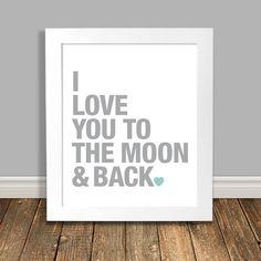 New to HappyHippoArts on Etsy: Moon and Back Nursery Art I Love You Art Word Art Print Grey and Mint Nursery Art Love You Printable Art Digital Download - 8x10 11x14 (6.75 CAD)