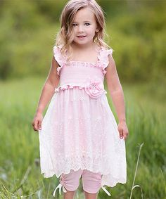 Another great find on #zulily! Pink & White Lace Shirred Dress & Leggings - Toddler & Girls #zulilyfinds