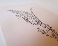 Small handmade original botanical mono print. Stef Mitchell. Wild moorland grass. Minimal and delicate floral art. FREE shipping worldwide