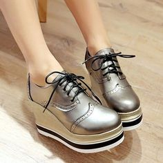 Casual Womens Over High Wedge Heels Platform Lace Up Round Toe Pu Leather Shoes High Heels Stilettos, Wedge Heels, Leather Shoes, Pu Leather, High Wedges, Doc Martens Oxfords, Casual Shoes, Oxford Shoes, Ankle Boots
