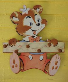 Incredibly Fabulous Vintage 1970s Children's Coat Rack Happy Animal Bear