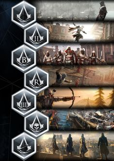 Every Assassin's Creed game so far. Assassin's Creed Rogue isn't in there, due to the fact that he is a Templar Asesins Creed, All Assassin's Creed, Arte Assassins Creed, Assassins Creed Tattoo, Assassins Creed Origins, Video Game Art, Video Games, Geeks, Connor Kenway