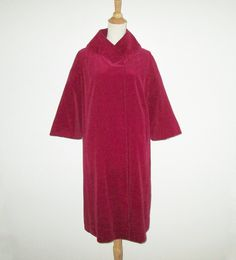 Vintage 1950s Deep Red Velveteen Coat By Maurice Original - Size M, L by SayItWithVintage on Etsy