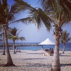 Crystal clear water + White sand = Mumzar Beach, Dubai.