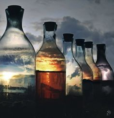Sunsets in bottles: all i have to do is figure out how to make them. print a sunset pic onto transparency maybe and cut it and stuff it in a bottle?