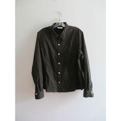 Vintage 70s 1970s Liz Claiborne Olive Green Faux Suede Collared Shirt Top Blouse Sz 16/XL