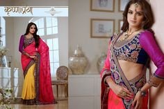 Superb Designer Party wear Pink and Yellow Crape Jacquard Saree with Geogette Jacquard Pallu and Contrast matching Dhupian Blouse. Heavy work en-crafted all over.