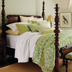 Frontgate St. Croix bedding with exotic bird prints. This will be beautiful with our mahogany four post bed.
