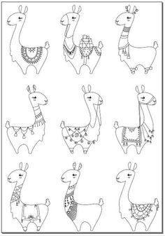Malvorlagen Voodoodles - Viele Lamas ausmalbilder - My list of the most beautiful baby products Doodle Drawing, Doodle Art, Llama Drawing, Bird Doodle, Colouring Pages, Coloring Sheets, Ikon, Art Lessons, Embroidery Patterns