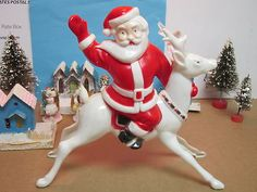Vintage Christmas Blow Mold ~ Santa Riding a Reindeer.
