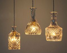 Wine decanter bottle pendant light chandelier with by TudoandCo - these are really unique.