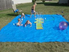 But actually, this DIY splash pad made from a tarp is even cheaper. | 32 Cheap And Easy Backyard Ideas That Are BorderlineGenius