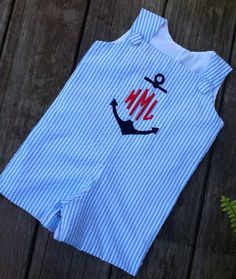 Baby boy ANCHOR monogram shortall, anchor embroidery custom boutique Jon Jon,  romper. A line dress available. on Etsy, $36.99