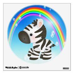 Cute Cartoon Zebra  Rainbow Wall Decal