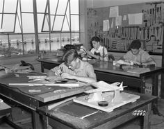 Spin models under construction in the model shop of the National Advisory Committee for Aeronautics at Langley Field, Virginia in 1939. These models would be placed in the Spin Tunnel to test how the aircraft would spin out of control.