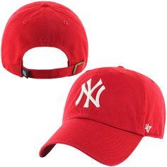 Men s New York Yankees  47 Brand Red Basic Logo Clean Up Adjustable Hat 8bc32906329