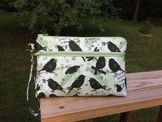 Black birds makeup bag iPhone wristlet gift for her credit