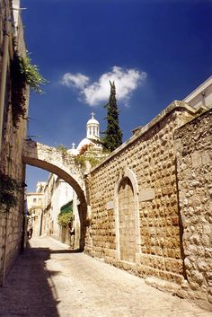 Via Dolorosa in Jerusalem    I was lucky enough to be able to visit Jerusalem when I was in the Navy. It is one place that I definitely want to go back to. The Via Dolorosa is the path that Jesus walked with the cross. Very powerful.