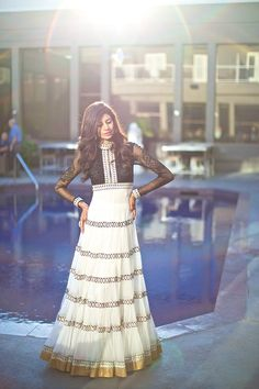 main shehzaadi sapno ki: Photo black and white anarkali, high neck, net long sleeves India Fashion, Ethnic Fashion, Asian Fashion, London Fashion, Indian Attire, Indian Ethnic Wear, Traditional Fashion, Traditional Dresses, Pakistani Outfits