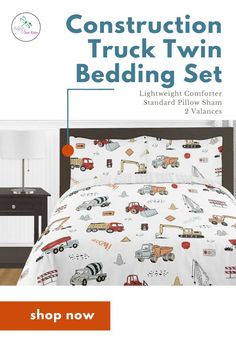Construction Truck Twin Bedding set will help you create an adorable room idea. This incredible designer bedding set features a fun coloring book inspired truck print and a coordinating tire print. This Construction Truck collection uses the colors of red, orange, yellow, light blue, grey and black. This wonderful set provide comfort and a good night sleep for your little one. Shop our Construction Truck print twin bedding set and create your dream nursery. #twinbeddingset… Childrens Bathroom, Childrens Beds, Kids Window Treatments, Kids Bedroom Designs, Bedroom Ideas, Crib Bed Skirt, Blue Crib, Crib Sets, Queen Bedding Sets