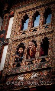 Monk and Boy in Punakha Dzong, Bhutan