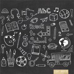 Back To School Doodle  Clipart Set  Instant by LightbreezeBoutique