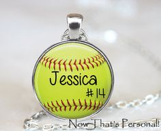 CUSTOM SOFTBALL PENDANT - player's name and number on necklace – Jill Campa Designs - Now That's Personal!