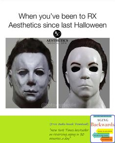 Michael Myers Glow Up Looks like Mike has gotten some filler and skin resurfacing. Maybe all that blood rejuvenated his skin Come visit us at RX Aesthetics for skin care and services that will make you look and feel your best! Dermal Fillers, Botox Fillers, Hydra Facial, Earth Book, Last Halloween, Aging Backwards, Reverse Aging, Skin Resurfacing, Facial Rejuvenation