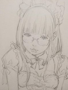 ✮ ANIME ART ✮ maid girl. . .maid cosplay. . .apron. . .headdress. . .glasses. . .realism. . .drawing. . .graphite. . .sketch. . .doodle. . .cute. . .kawaii