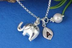 Elephant Elephant initial Necklace Sterling silver by MonyArt, $29.80