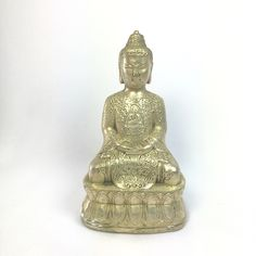 Buy inspirational antique bronze statue Calming Buddha with elaborate detail on the front and back. This antique bronze Calming Buddha statue measures x x Use this Feng Shui sitting Bu Unique Gifts For Him, Gifts For Women, Buddha Home Decor, Feng Shui Art, Sitting Buddha, Good Luck Gifts, Buddhist Art, Buddhist Beliefs, Bronze