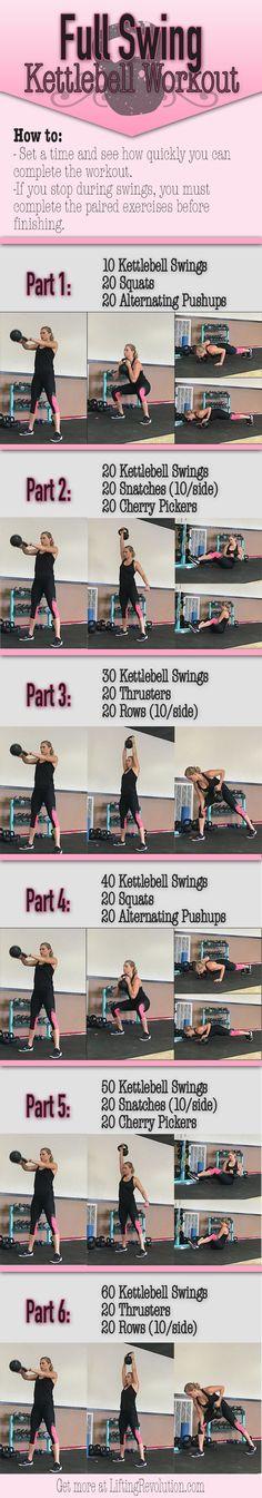 Total Body Kettlebell Workout revolving around heart thumbing swings…