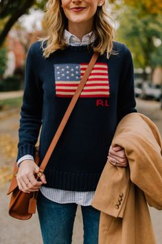 Ralph Lauren Anniversary - Timeless American Fall Looks On Kelly: Ralph Lauren American Flag Sweater (This is also a favorite!), Camel Coat (Love this one, too), Striped Button Down, White Teddy Bear Sweater (This one is great as well. Autumn Look, Fall Looks, Autumn Winter Fashion, Adrette Outfits, Sweater Outfits, Casual Preppy Outfits, Trendy Outfits, Preppy Wardrobe, Formal Outfits