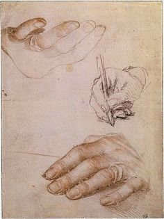 Hans Holbein the Younger, Two Studies of the Left Hand of Erasmus of Rotterdam; Study of the Right Hand Writing, c. 1523