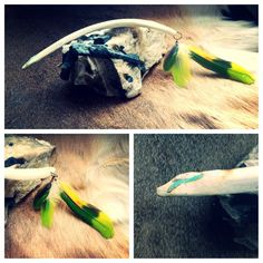 Natures Hairpin~  A hairpin I created and carved out of a deer bone~ Turquoise inlay on both ends, and added Amazon Parrot feathers on one end.    ~The Gypsies Caravan~ My Shop:https://www.etsy.com/shop/thegypsiescaravan