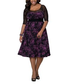 KIYONNA Berry Bloom & Black Twirl & Swirl Dress - Plus by KIYONNA #zulily #zulilyfinds