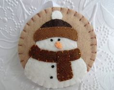 Felt Snowman Ornament Felted Wool Felt by pennysbykristie on Etsy
