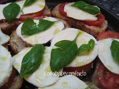 Bruschettas de Tomate e Mozzarella com Oregãos e Manjericão