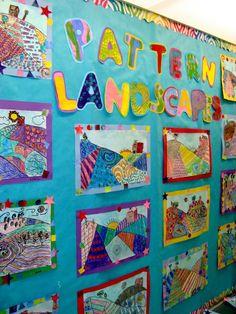 grade art lesson plans grade patterned landscapes carters art room common core lesson plans for . Classroom Art Projects, School Art Projects, Art Classroom, 3rd Grade Art Lesson, Third Grade Art, Grade 3, Design Poster, Art Design, Math Patterns