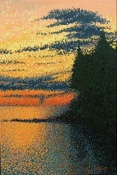 """English Bay Sunset"" by Jim Pescott; Acrylic, Painting, pointillism"
