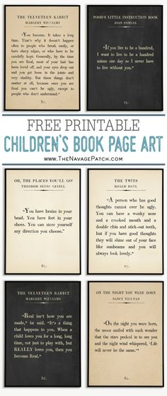 Children's Book Page Art Prints Free printable Dr. Seuss Quotes, Winnie the Pooh quotes, Velveteen Rabbit quotes and many more beloved children's book quotes in oversize book page format! Edgar Allen Poe, Quotes From Childrens Books, Children Book Quotes, Art Children, Childrens Book Quotes Printables, Book Page Art, Book Pages, Book Page Crafts, Book Wall