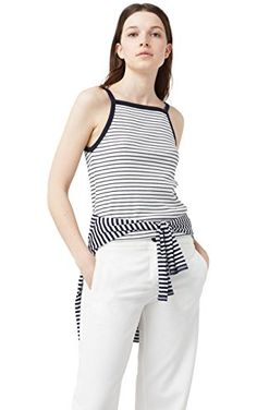 Mango Women's Ribbed Cotton-Blend Top, Navy, Xxs ❤ ...