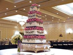 Buttercream Cake with Navy Decorations & Fresh Roses at The Washington Duke Inn